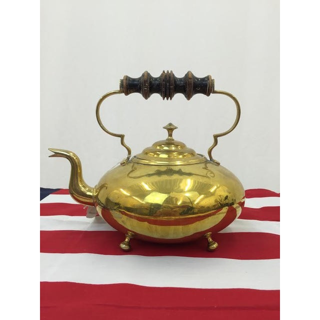 Boho Chic Vintage Brass Tea Kettle For Sale - Image 3 of 5