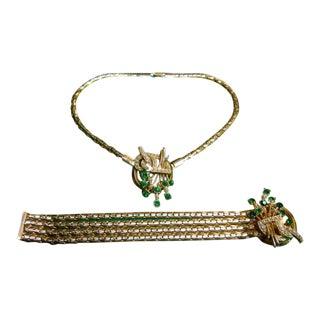 1950s Sleek Jeweled Gilt Metal Choker & Bracelet Set For Sale
