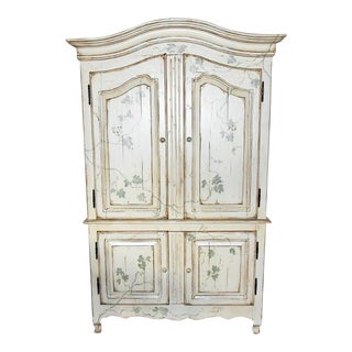 Paint Decorated Linen Press Armoire For Sale