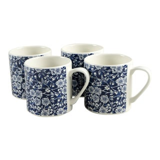 Queen's Calico Blue Mug Set/4 For Sale