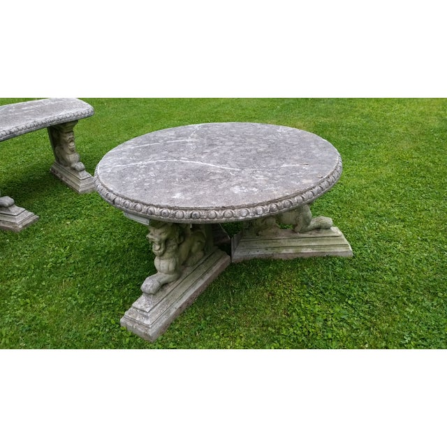 French Rococo Lion Coffee Table Patio Cement - Image 4 of 6