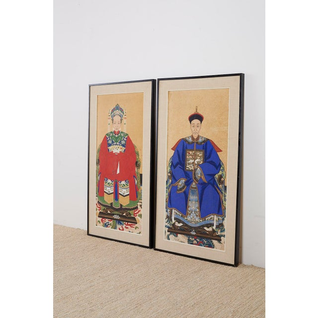 Wood Pair of Chinese Patriarch Matriarch Ancestral Portraits For Sale - Image 7 of 13