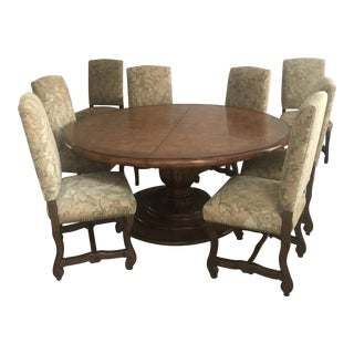 Dining Table Round With Leaf and 8 Chairs For Sale