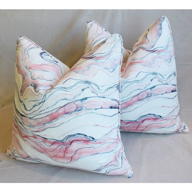 "Blue Modern Blush-Pink Marbleized Feather/Down Pillows 22"" Square - Pair For Sale - Image 8 of 13"