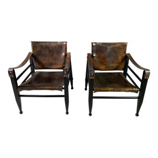 1970s Dark Stained Leather Safari Chairs- A Pair For Sale