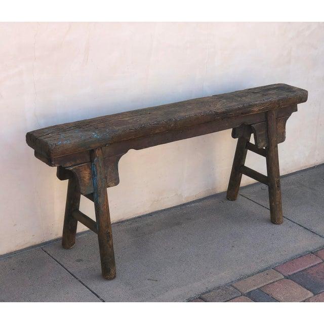 Antique Shandong Elm Wood Bench For Sale - Image 5 of 6