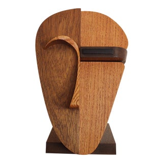 Figurative Abstract Handcrafted Oak, Walnut, Ebony Face Sculpture For Sale