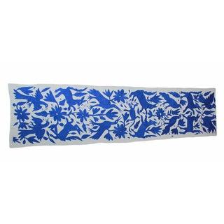Blue Tenango Hand-Woven Table Runner For Sale