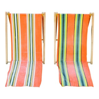 Vintage Canvas Folding Beach Sand Chairs - A Pair For Sale