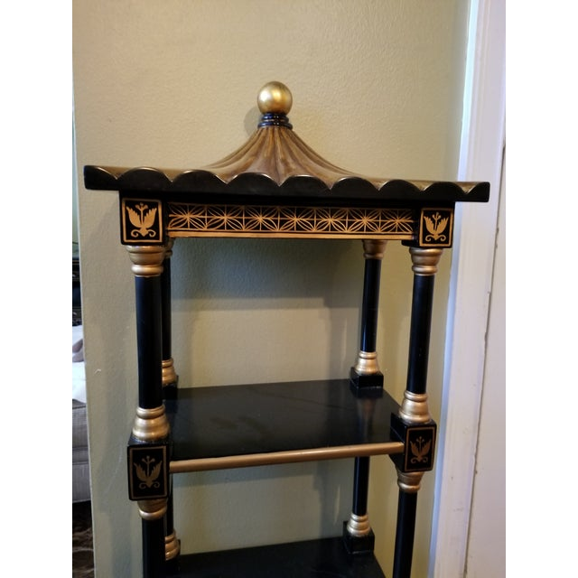 Wood Last Call Black & Gold Asian Shelving Unit For Sale - Image 7 of 9
