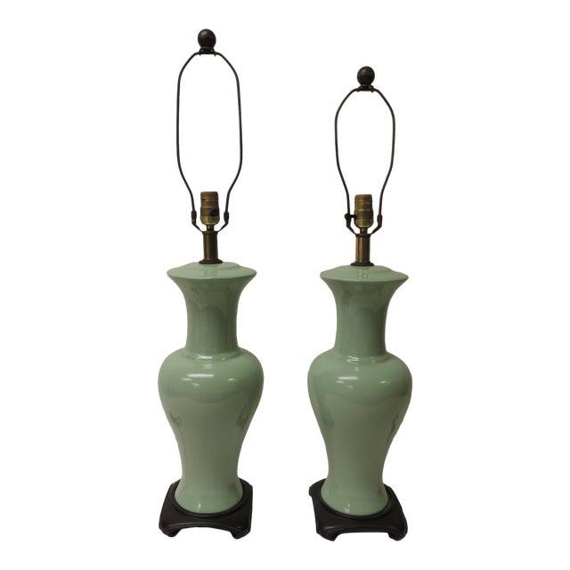 Pair of Vintage Celadon Porcelain Table Lamps For Sale