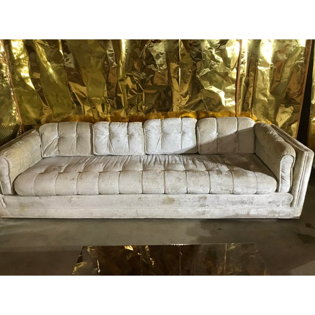 1960s Milo Baughman Frost White 8 foot Sofa. Perfect for a modern home.