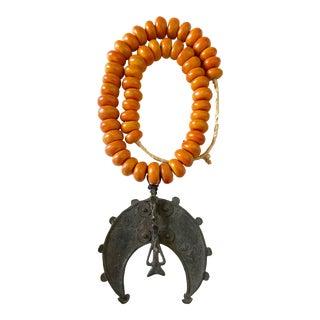 "Amber Necklace W/Gan Bronze Amulet Pendant Burkina Faso 20.5"" H For Sale"