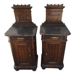 Victorian Marble Topped Nightstands a Pair