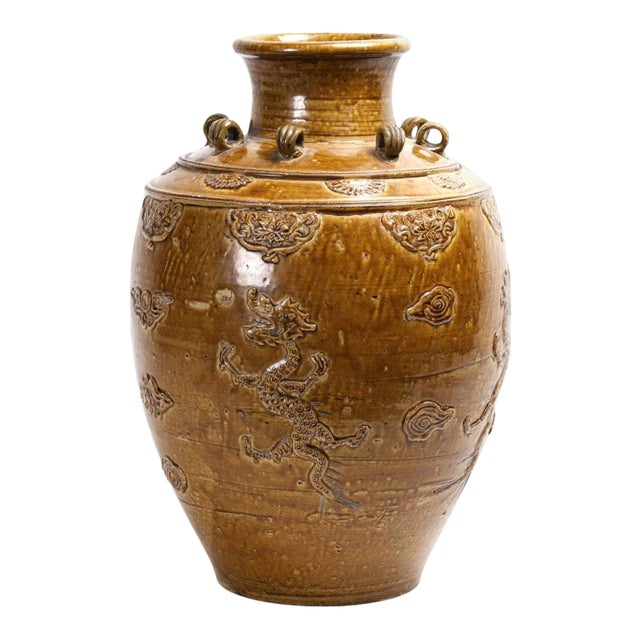 Chinese Stoneware Storage Martaban Jars with Dragon Relief For Sale