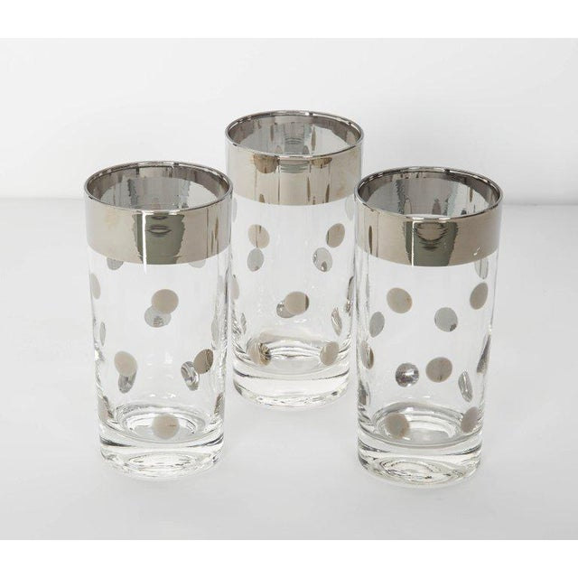 Dorothy Thorpe Set/10 Mid Century Barware Glasses With Polka Dot Design by Dorothy Thorpe For Sale - Image 4 of 6