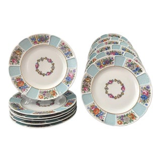 Antique Rosenthal Bavaria Porcelain Continental Luncheon Plates - Set of 12 For Sale