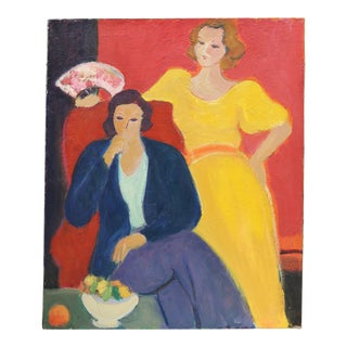 Mid-Century French Portrait of Two Ladies