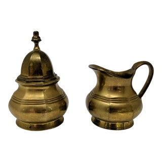 1960s Traditional Solid Brass Sugar and Creamer Set - 2 Pieces For Sale