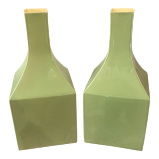 Green Chinese Vases Designed by Bo Jia - a Pair For Sale
