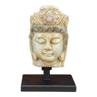 Lovely Antique Burmese Marble Buddha on Stand For Sale