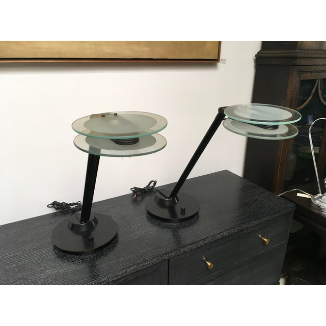 Black & Glass Post-Modern Italian Table Lamps by Relco - a Pair For Sale - Image 10 of 10