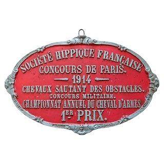 1914 1st Place Paris Horse Show Trophy Plaque For Sale