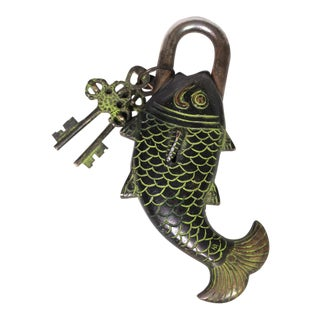 Vintage Japanese Cast Iron Heavy Fish Lock With Keys in Black & Moss Green For Sale