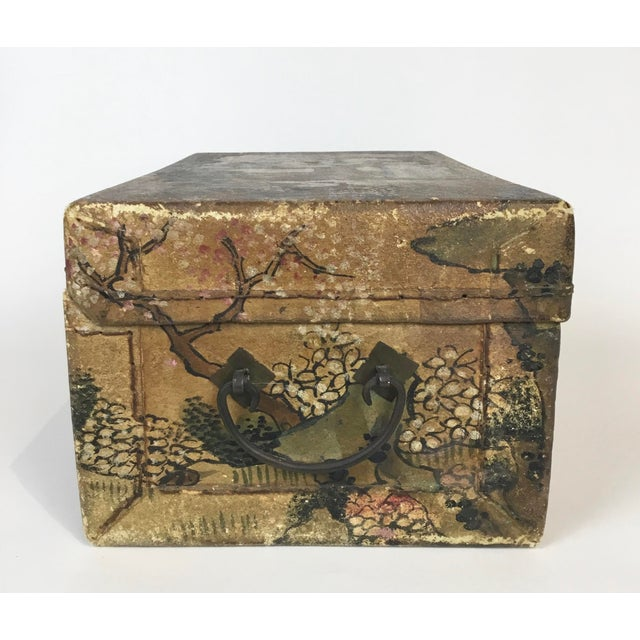 19th C. Asian Hand Painted Hide Box For Sale In Los Angeles - Image 6 of 12