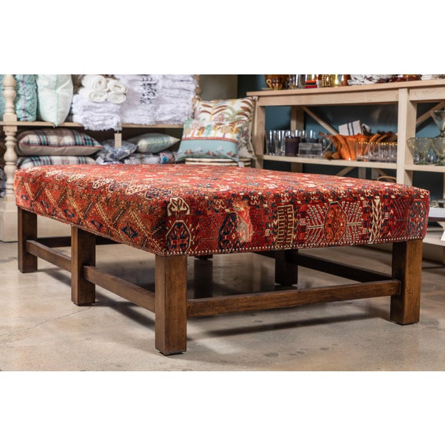 Large Scale Ottoman Upholstered With a Vintage Rug Textile For Sale In Los Angeles - Image 6 of 13