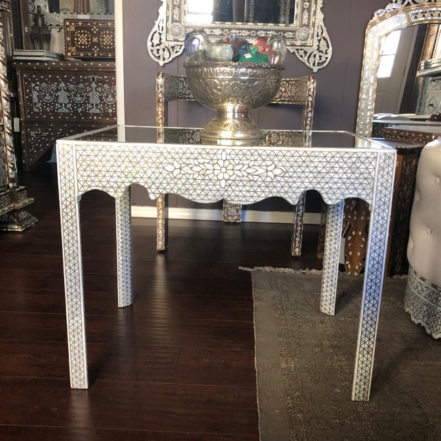 1990s Moorish Mother of Pearl Inlay Side Table For Sale - Image 9 of 11