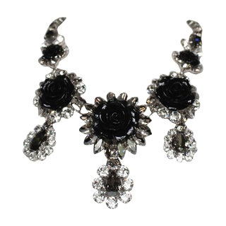 Philippe Ferrandis Swarovski Crystal and Black Resin Rose Necklace For Sale