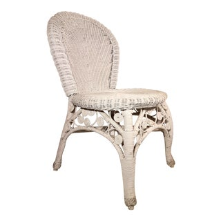 Vintage Mid Century White Wicker Chair For Sale