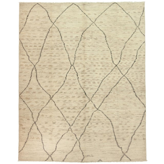 """Moroccan Hand Knotted Area Rug - 7'9"""" X 9'9"""" - Image 1 of 3"""