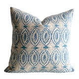 Image of Aqua Block Print Pillow Cover 16x16 For Sale
