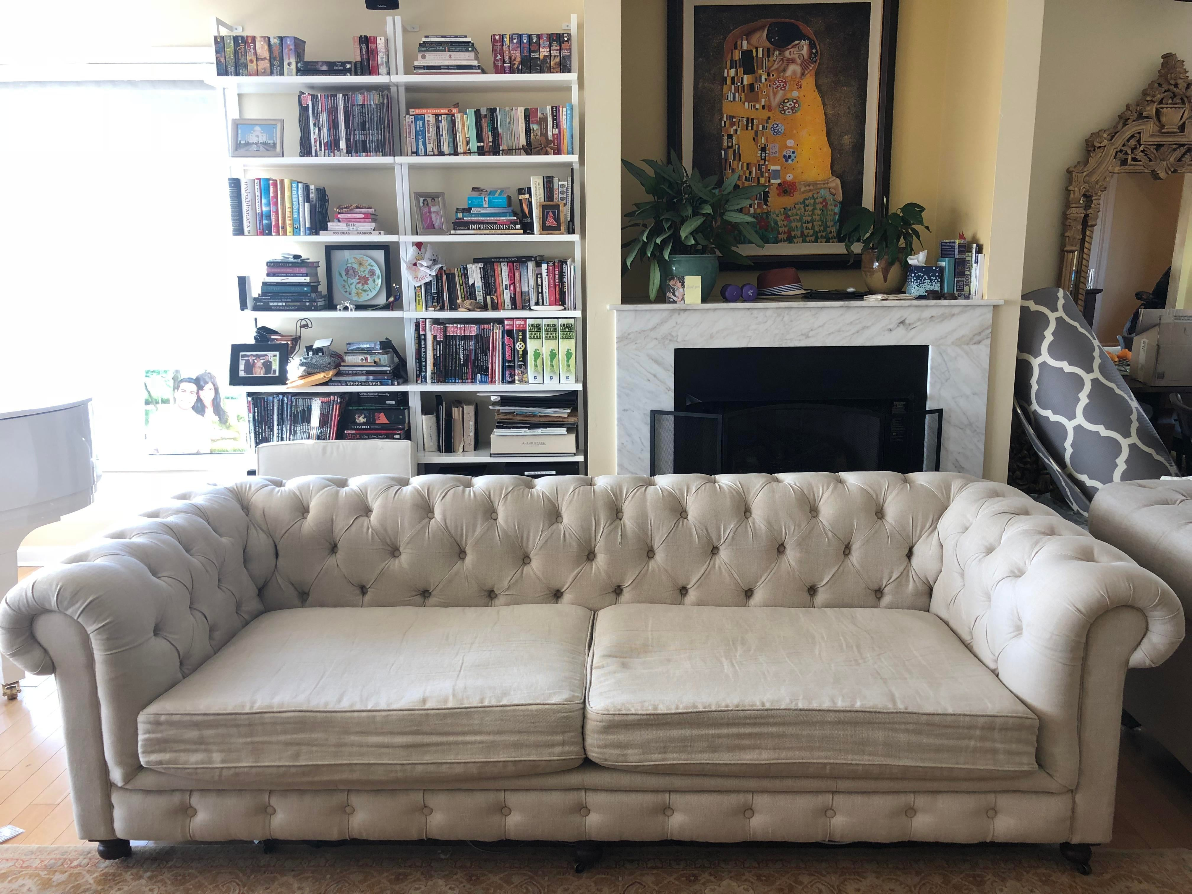 Exceptionnel Restoration Hardware 9u0027 Belgian Linen Luxe Kensington Sofa For Sale In New  York   Image