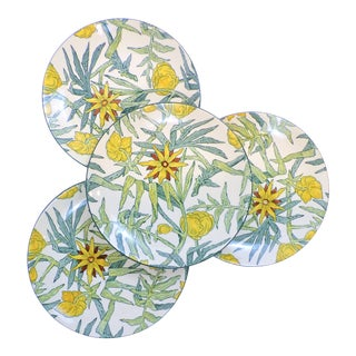 Vintage Tiffany & Co. Mason's Ironstone Yellow Flowers Plates - Set of Four For Sale
