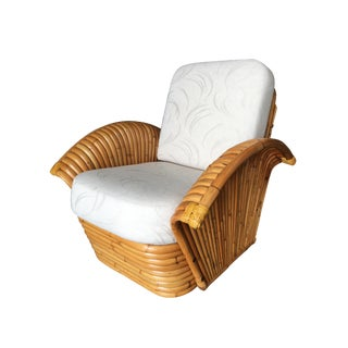 Restored Art Deco Rattan Fan Arm Lounge Chair For Sale