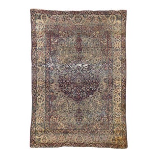 Distressed Antique Kermanshah Persian Rug with Modern Industrial Style