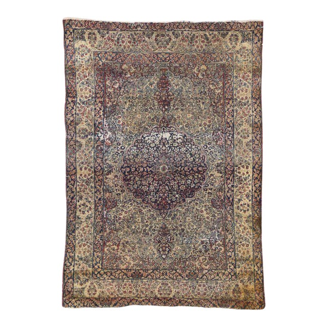Distressed Antique Kermanshah Persian Rug with Modern Industrial Style For Sale