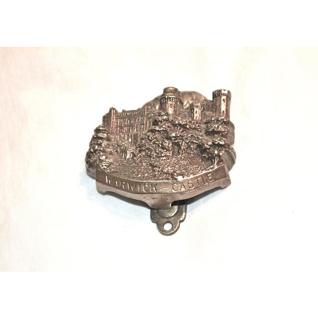 Brass door knocker featuring medieval English edifice, Warwick Castle. Excellent detail work and patina. Works well. 1926...