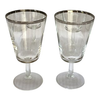 French Crystal Platinum Rim Water Goblets - Set of 10 For Sale