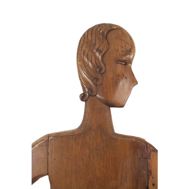 Americana Pair of American Art Deco Stained Pine Mannequin Panel Figure For Sale - Image 3 of 6