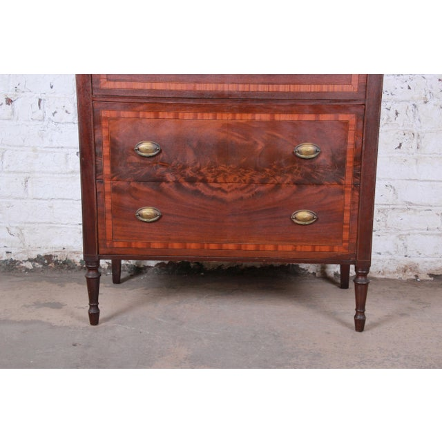 John Widdicomb Early John Widdicomb Flame Mahogany Highboy Dresser, Circa 1920s For Sale - Image 4 of 13