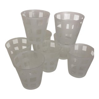 Mid-Century Modern Lattice Design Etched Lo-Ball Glasses - Set of 8