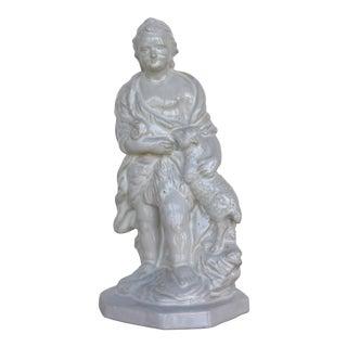 1950 Saint John the Baptist With a Lamb, Glazed Earthenware Figurine For Sale