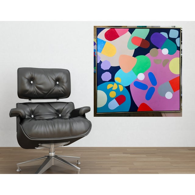 """Original abstract artwork in beautiful Mid-Century style gold /wood modern frame. This painting is part of my """"Valley of..."""