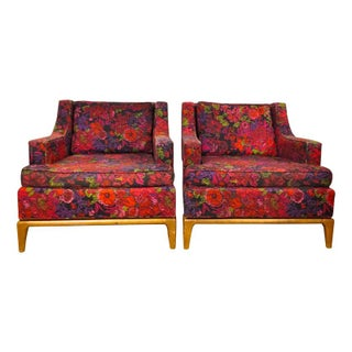 Floral Mid Century Broyhill Chairs - A Pair