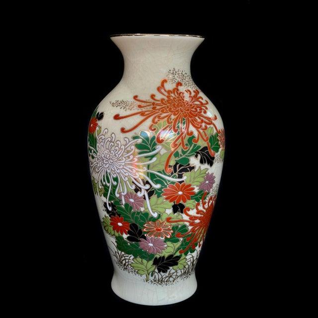 Ceramic Vintage Japanese Porcelain Floral Motif Vase For Sale - Image 7 of 7