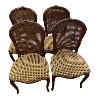 1920's French Country Walnut Dining Chairs - Set of 4 For Sale